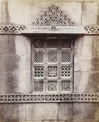 Close view of second window from north corner of the Malik Sarang Mosque or Queen's Mosque, Sarangpur, Ahmadabad